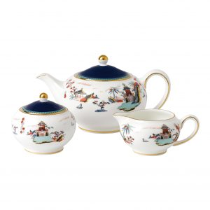 Wonderlust Blue Pagoda 3-Piece Tea Set
