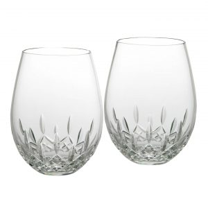 Lismore Nouveau Stemless Deep Red Wine, Pair