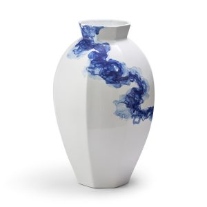 White and Blue Hand-Painted Octagon Vase